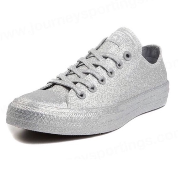 Converse Silver Glitter Sneakers 162994C NWT